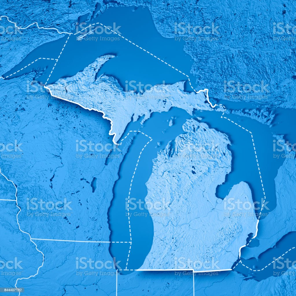 Michigan State USA 3D Render Topographic Map Blue Border stock photo