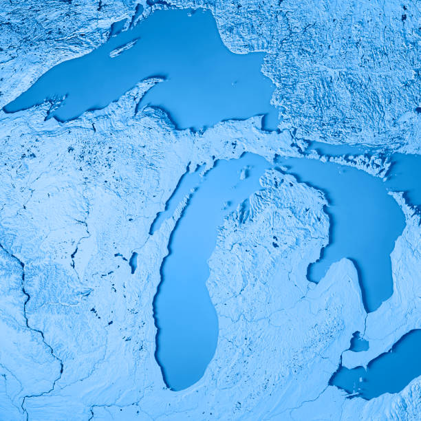 Great Lakes Map Pictures Images And Stock Photos IStock - Usa map michigan state