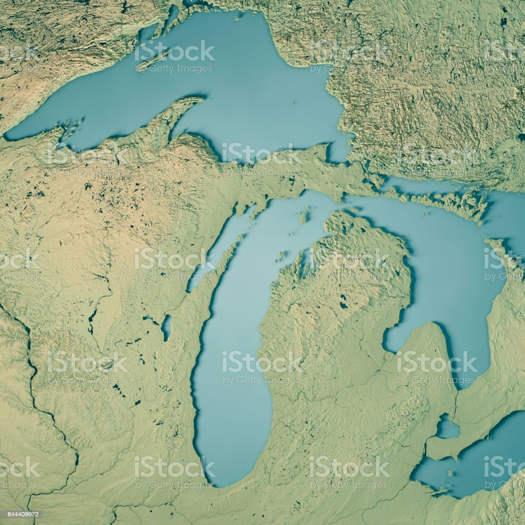 Michigan State USA 3D Render Topographic Map stock photo