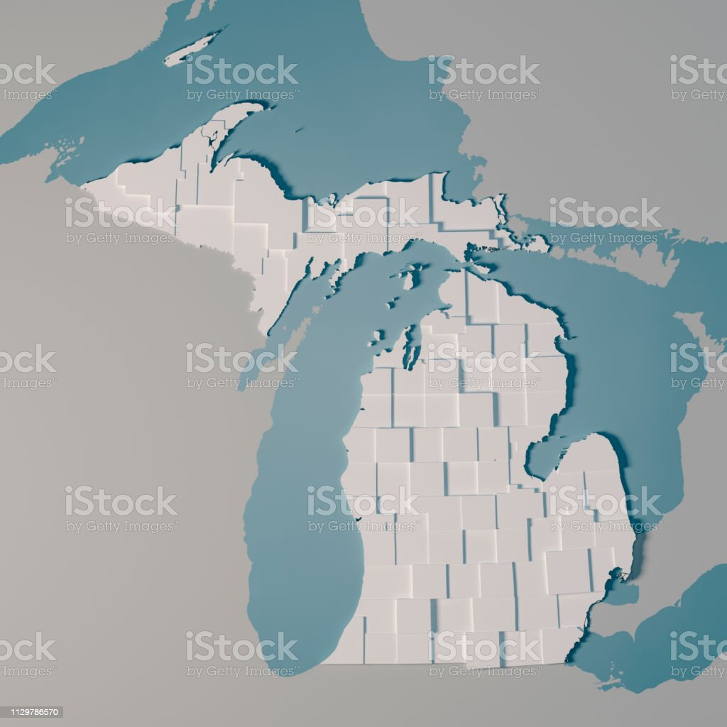 3D Render of an US State map of Michigan with the Administrative...