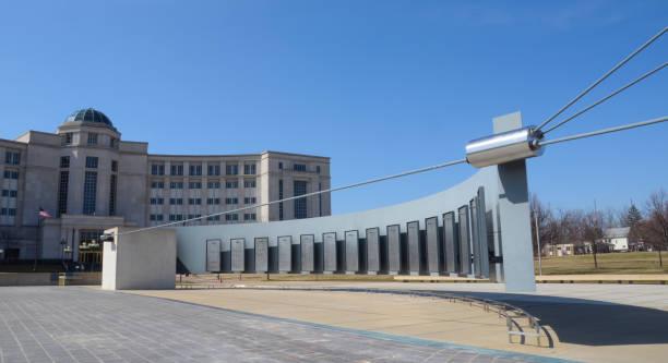 Michigan Vietnam Memorial and Hall of Justice stock photo