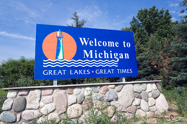 Michigan Welcome Sign stock photo