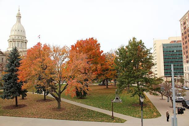 Michigan's Capital City In Autumn stock photo