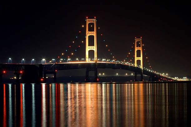 Michigan's Mackinac Bridge at Night stock photo