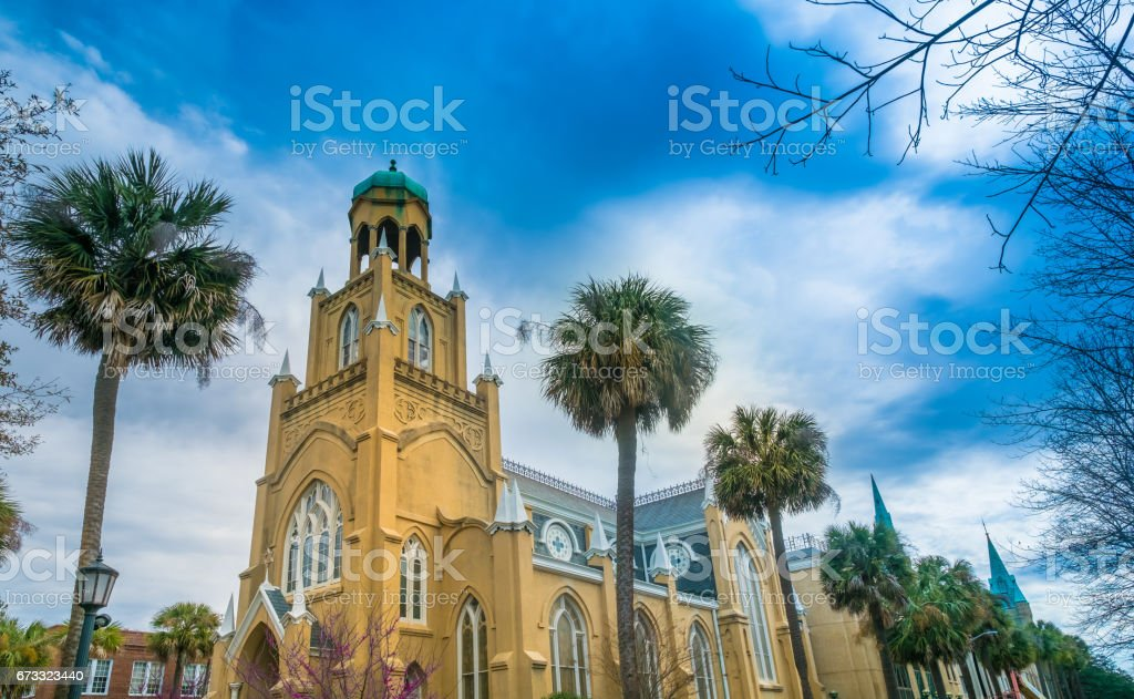 Mickve Israel Synagogue, Savannah, GA, USA stock photo