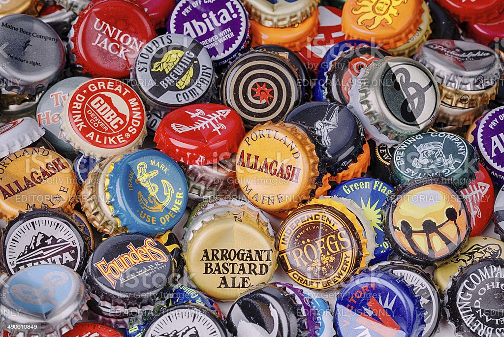 Micro Brewery Bottle Caps stock photo