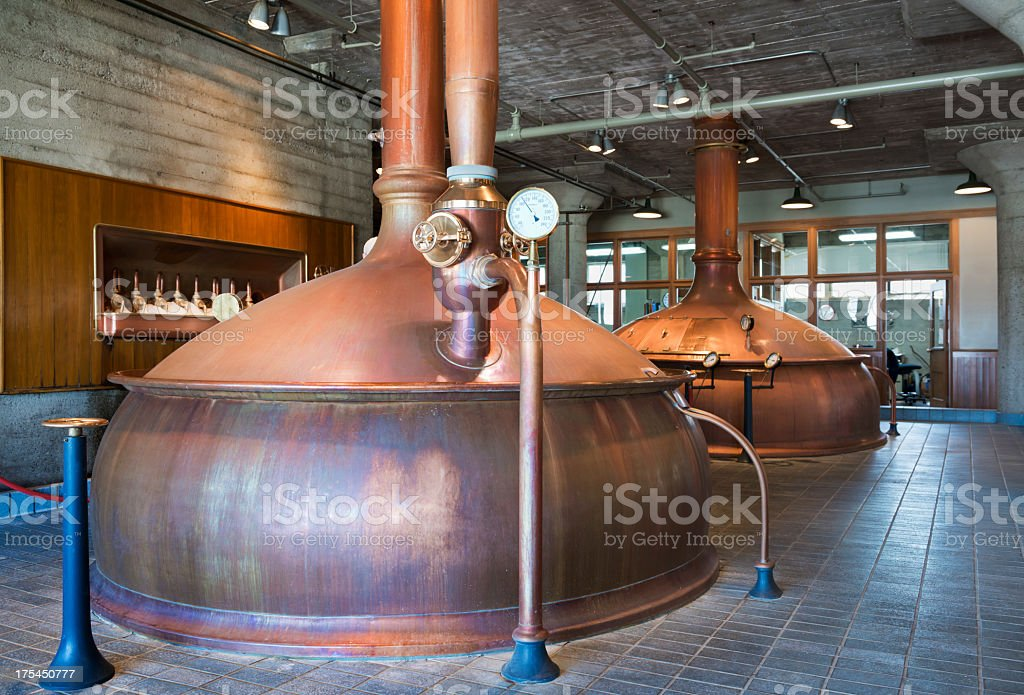 Micro Brewery Copper Cooking Kettles stock photo