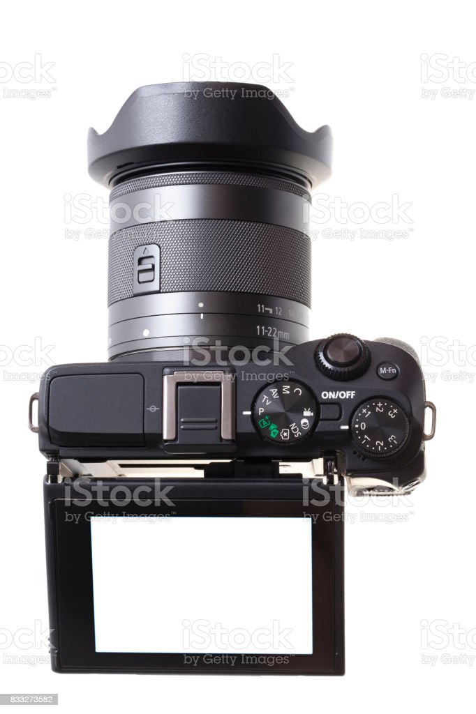 Micro cameras  isolated on white by front view background stock photo