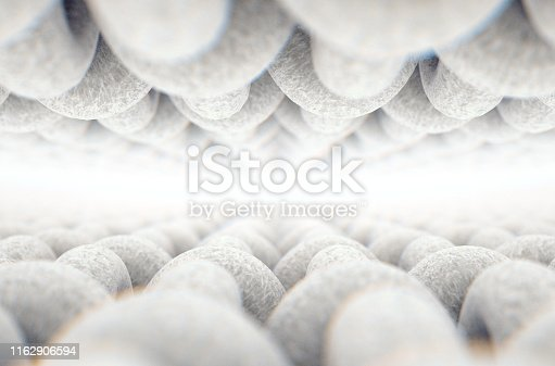 A microscopic close up view between layers of a simple woven textile on a white background - 3D render