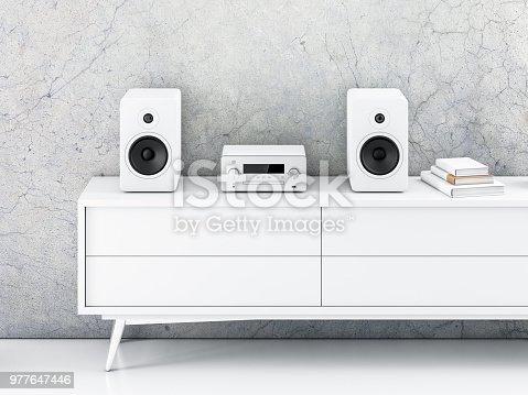 Micro Hi-Fi stereo system mockup in modern interior, 3d rendering