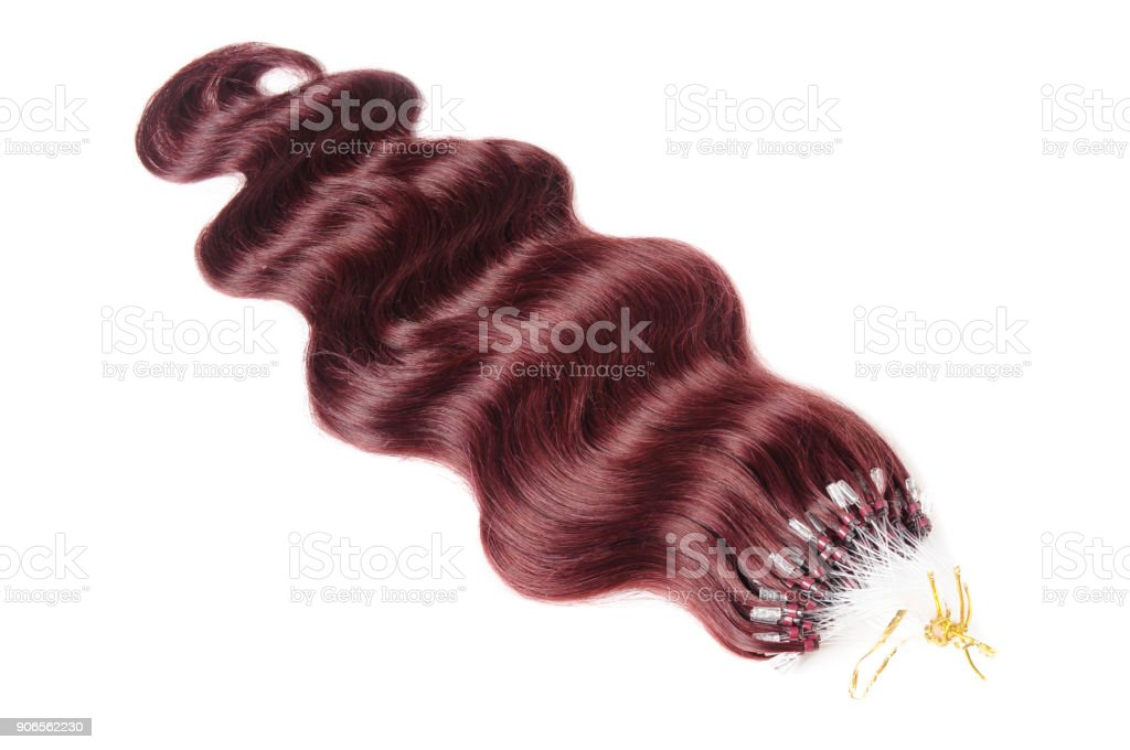 Micro ring bead body wave black human hair extensions stock photo