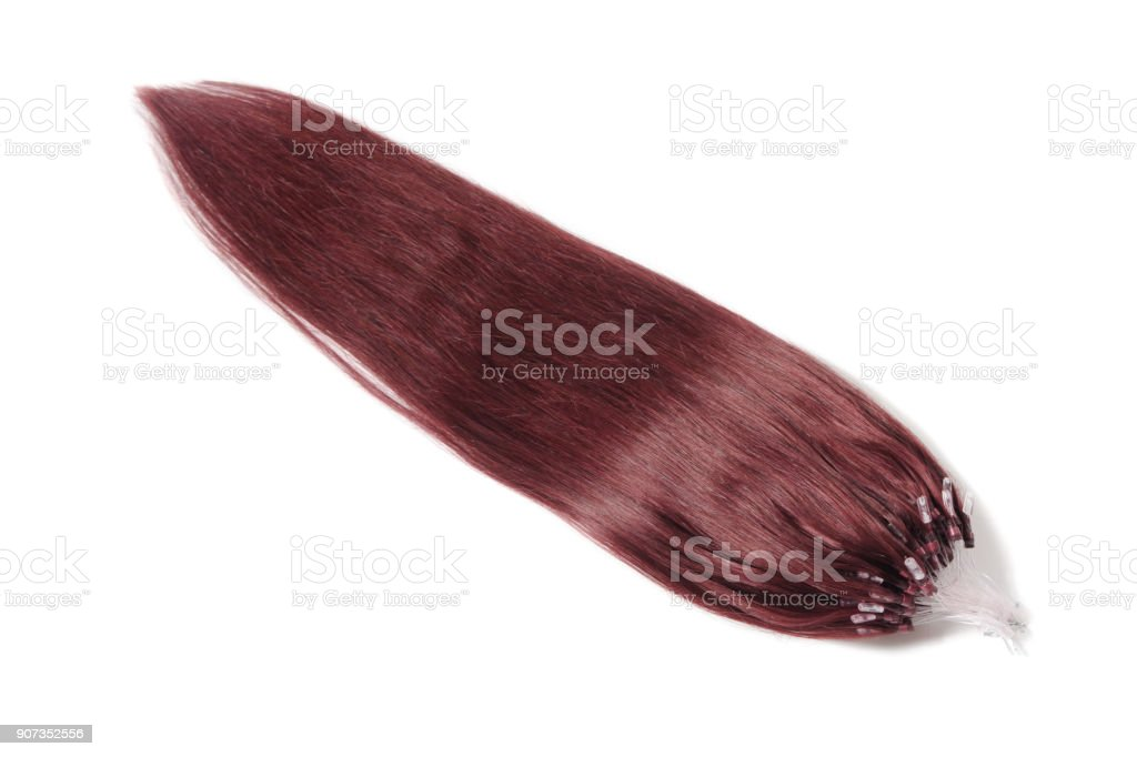 Micro ring bead straight claret human hair extensions stock photo