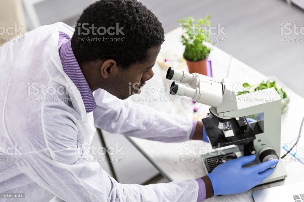 Microbiologist in laboratory stock photo