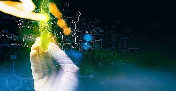 concepto de microbiología - biotecnología fotografías e imágenes de stock