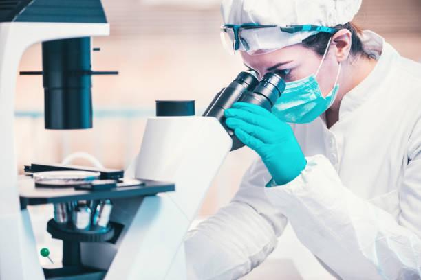 Mikrobiologie, Techniker, der mit Bakterienstämmen arbeitet – Foto
