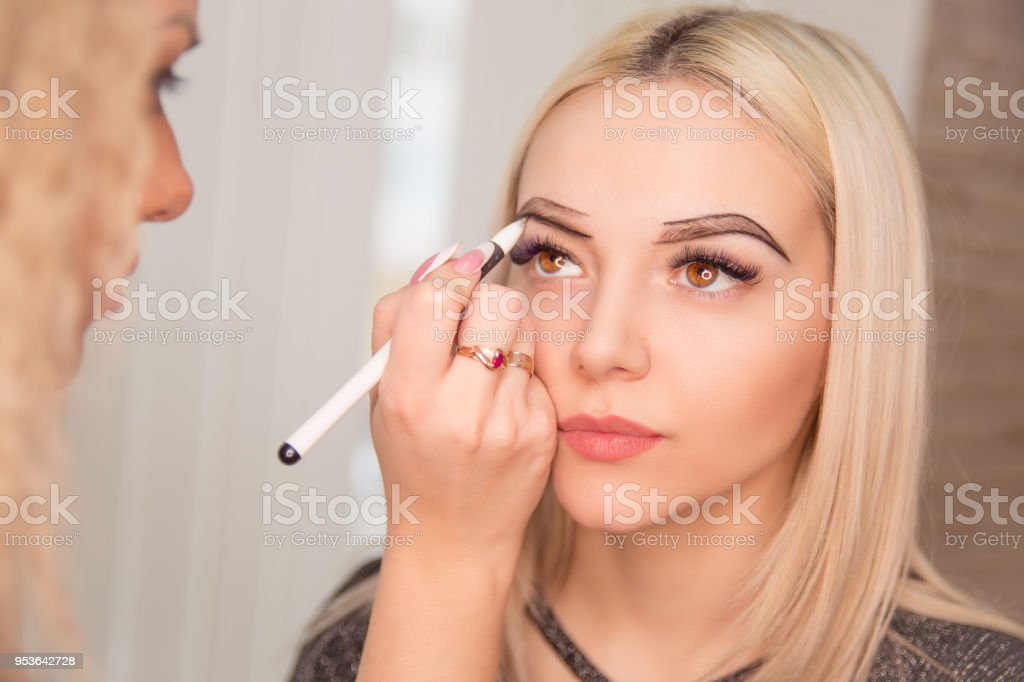 Microblading Micropigmentation Eyebrows Work Flow In A Beauty Salon