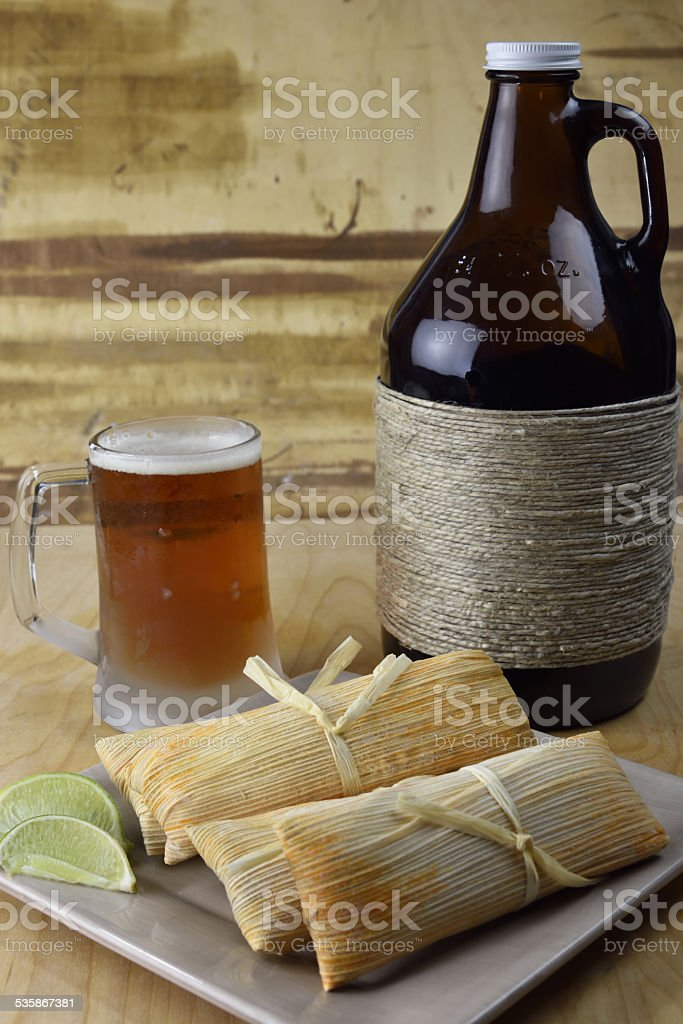 Microbrew Beer and Tamales stock photo
