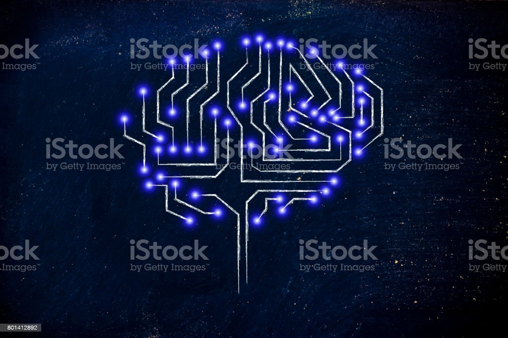 microchip circuit brain with led lights stock photo