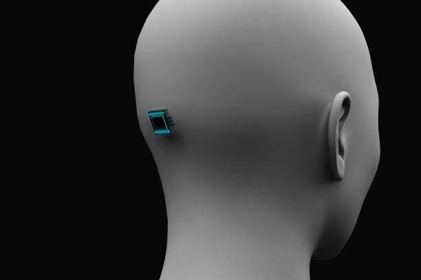 microchip in the back of the head stock photo