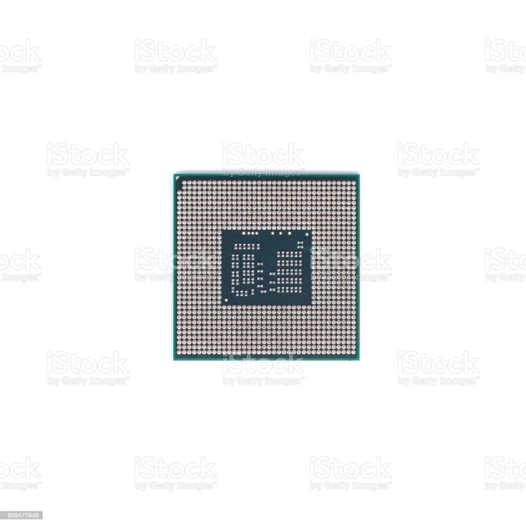 CPU (Central processing unit) microchip isolated on white background stock photo