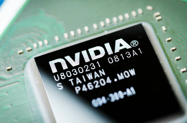 Moscow, Russia - April 7, 2019: NVIDIA microchip on the motherboard