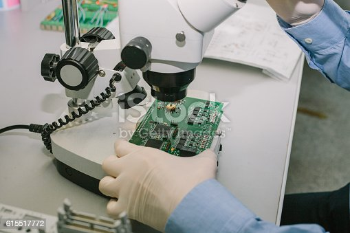 istock Microchip production factory. Technological process. Chip. Manufacturing. Engineering. 615517772
