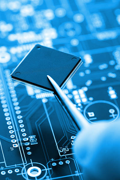 Microcontroller On Assembling Line stock photo
