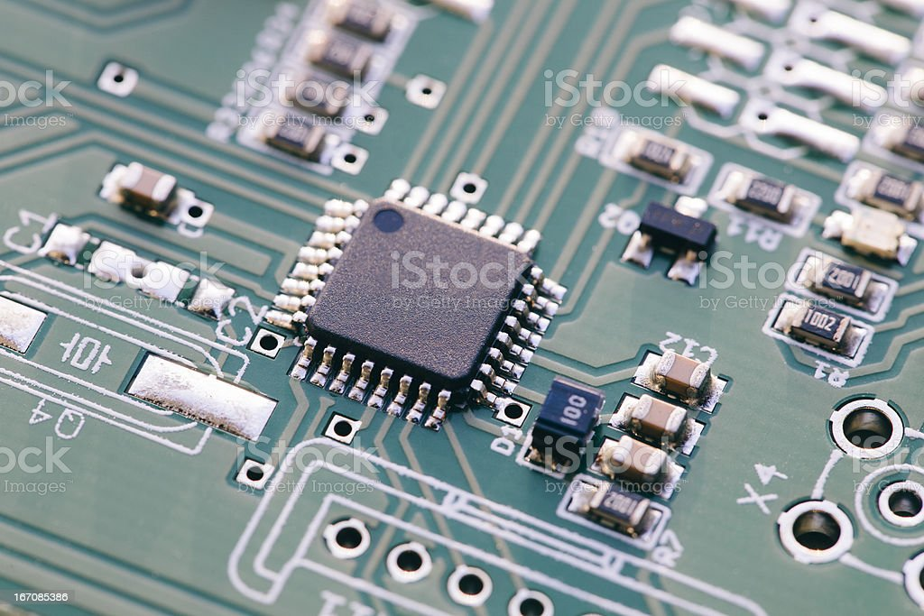 Microcontroller - Technology Circuit Board stock photo