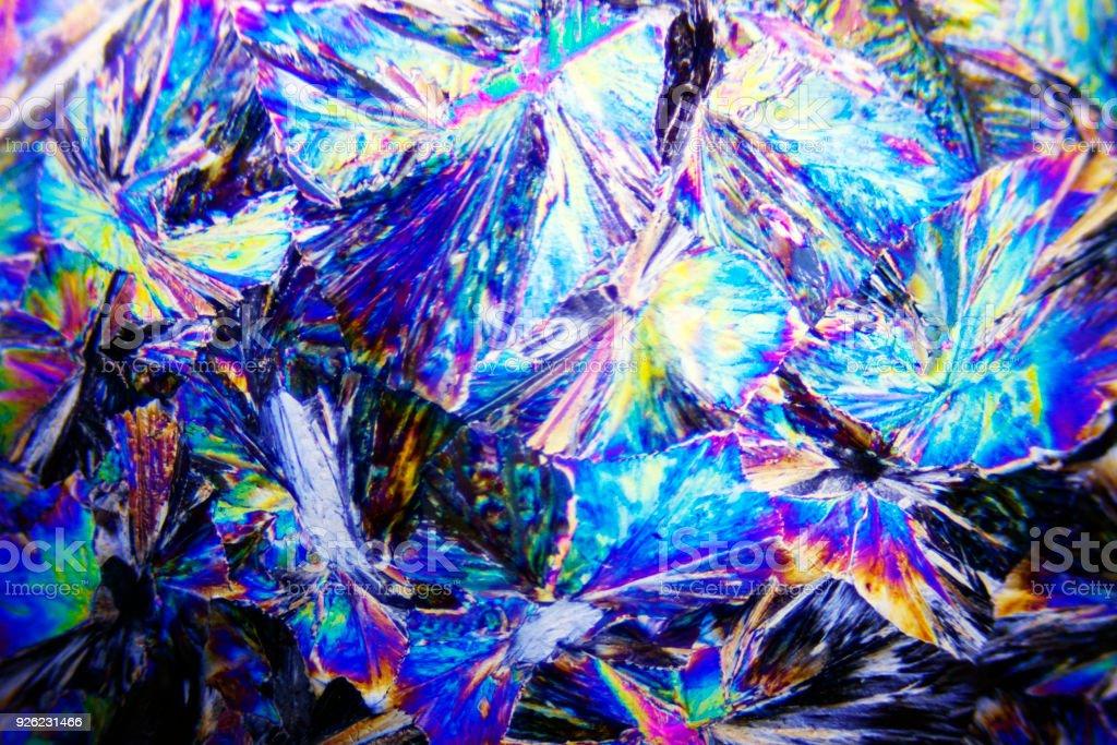 Microcrystals of sorbitol in polarized light stock photo