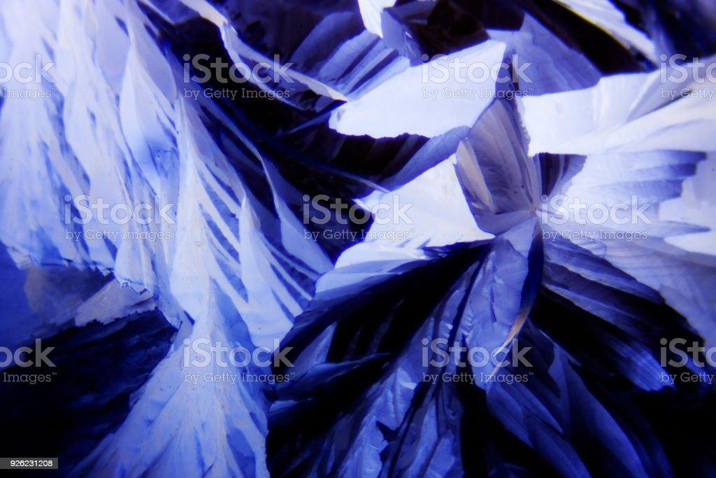 Microcrystals of tartaric acid in polarized light stock photo