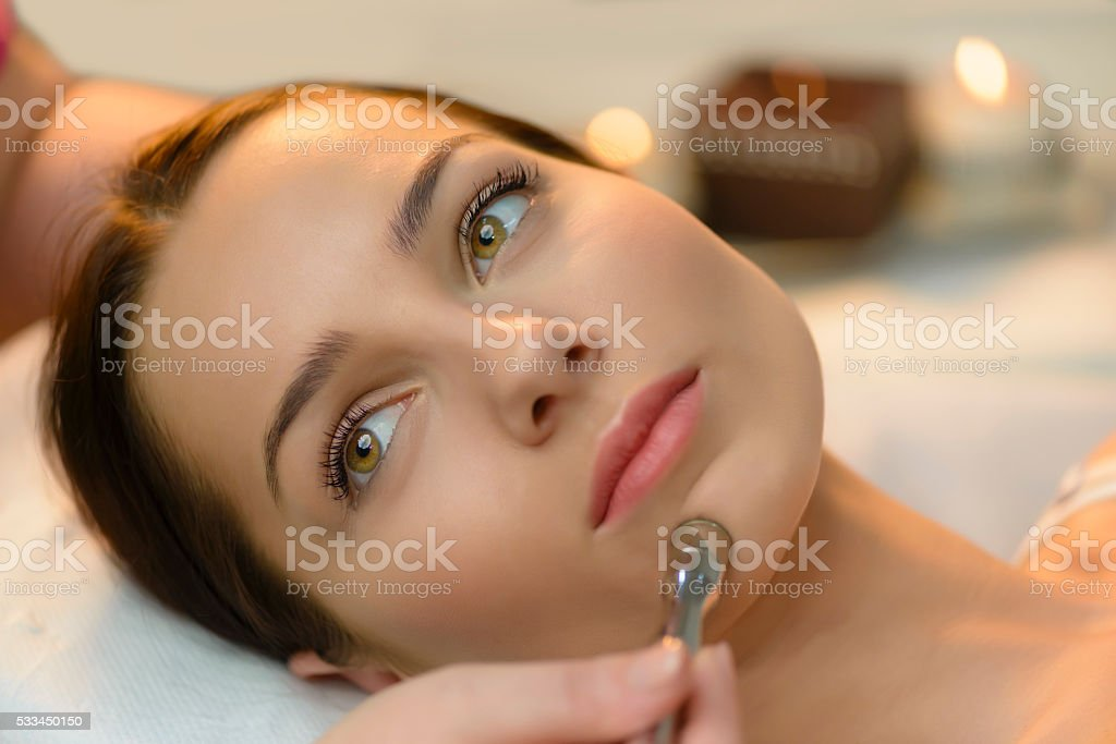 Microdermabrasion at Beauty Salon stock photo