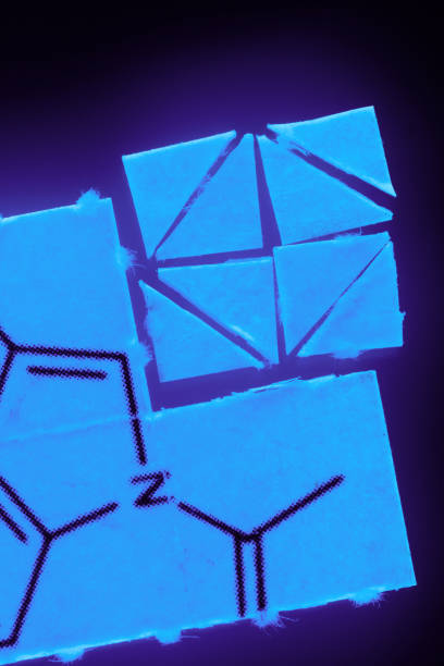micro-dosing pieces of paper with chemical structures, micro dosing concept blotter stock pictures, royalty-free photos & images