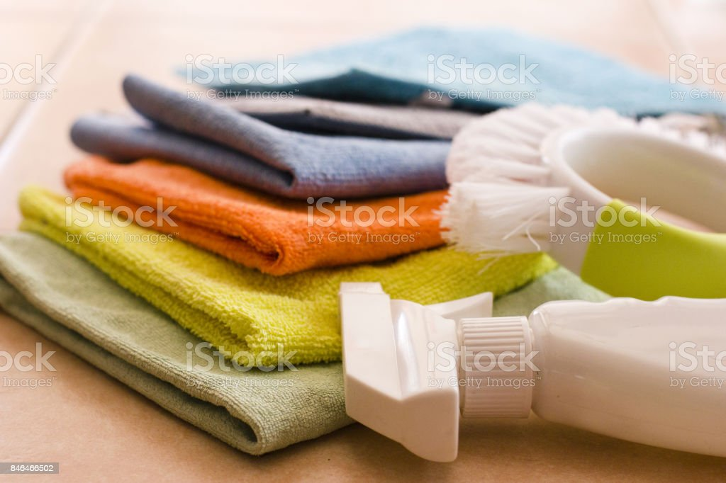 Microfiber nupkins, Cleaning agent and brush stock photo
