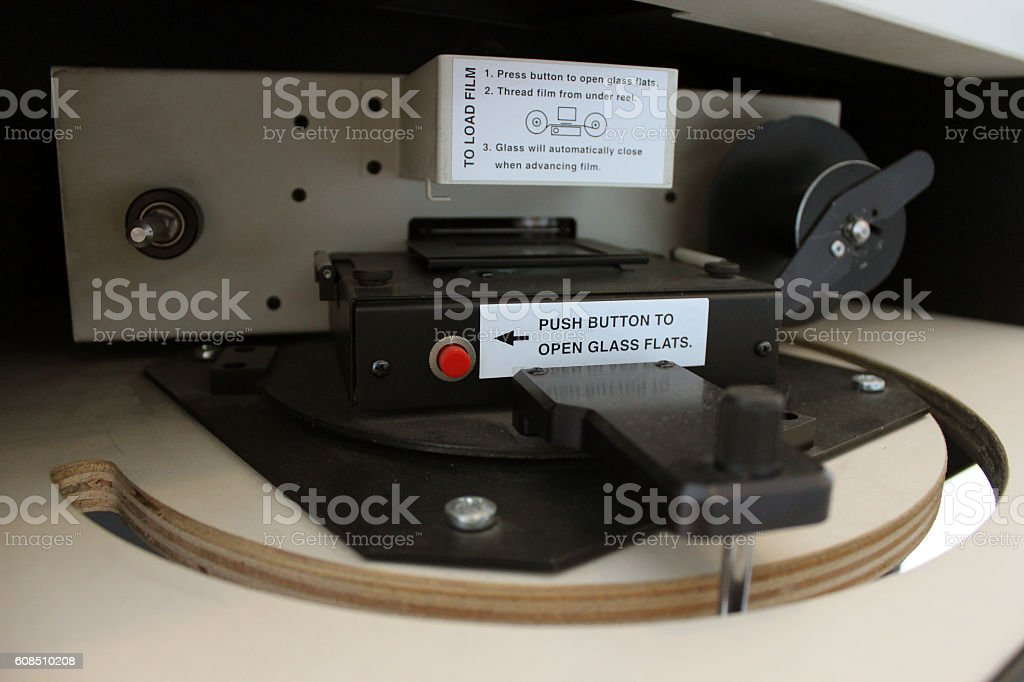 Microfilm scanner for library research stock photo