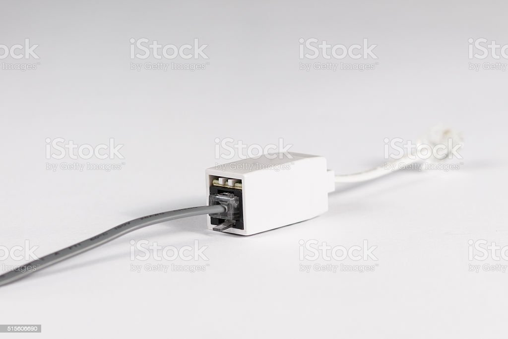 Microfilter phone of the ADSL installation on a white background stock photo