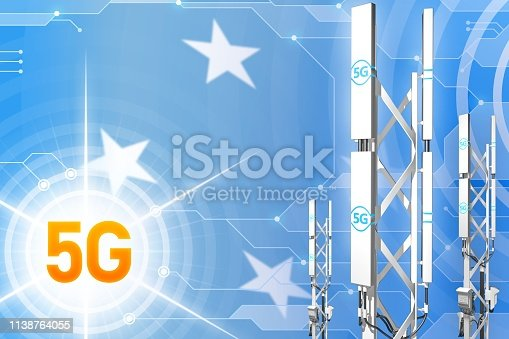 istock Micronesia 5G industrial illustration, large cellular network mast or tower on modern background with the flag - 3D Illustration 1138764055