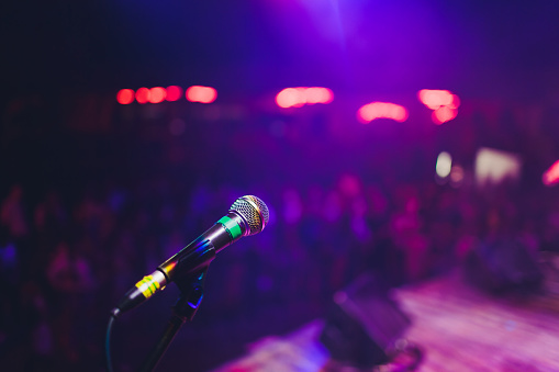 istock microphone against blur on beverage in pub and restaurant background. 1141790150