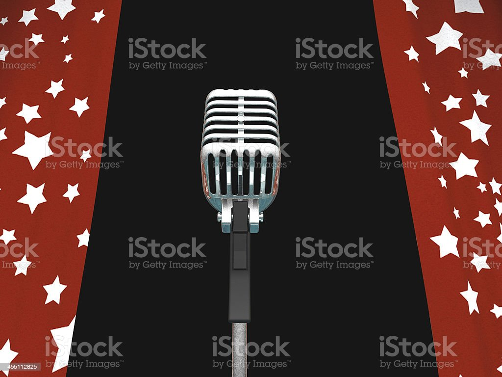 Microphone And Curtains Shows Concerts Or Talent Competition stock photo