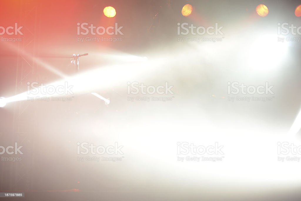 microphone and drum kit with concert stage light royalty-free stock photo