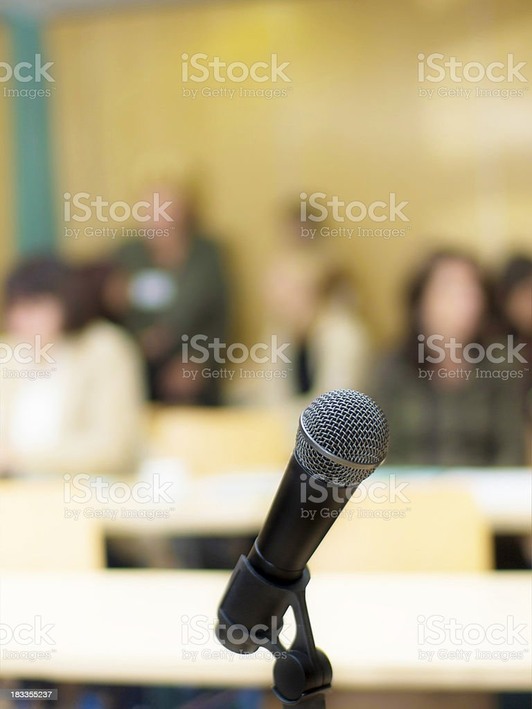 Microphone and Laptop in Lecture Room royalty-free stock photo