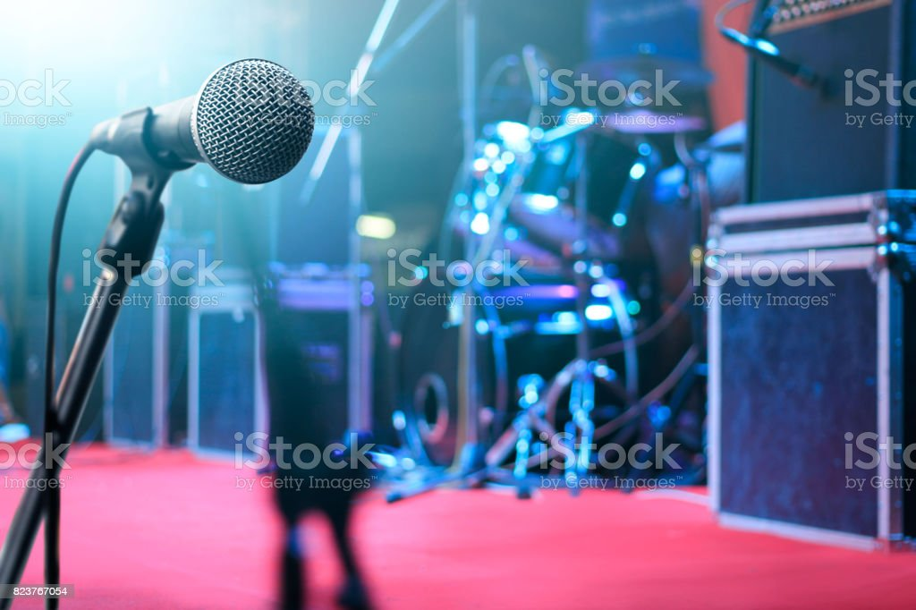 Microphone and music instrument on stage for background stock photo