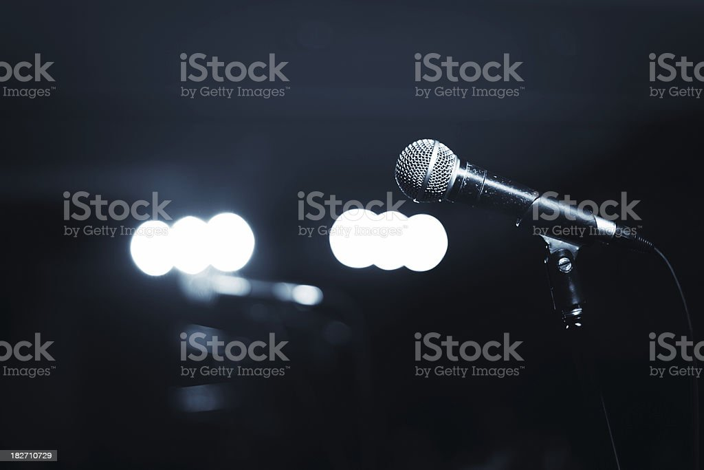 Microphone And Stage Lights royalty-free stock photo