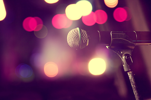 Microphone And Stage Lightsconcert And Music Concept Stock Photo - Download Image Now