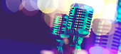 """istock Microphone and stage lights.Concert and music concept.3d illustration""""n 965417726"""