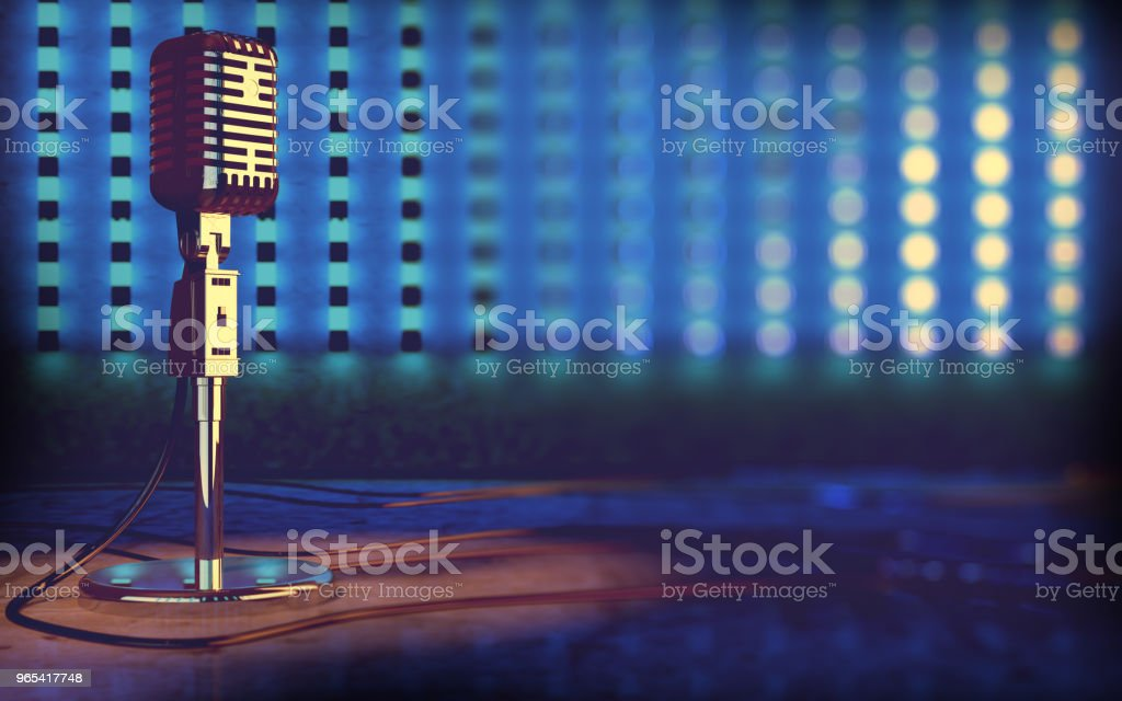 "Microphone and stage lights.Concert and music concept.3d illustration""n royalty-free stock photo"