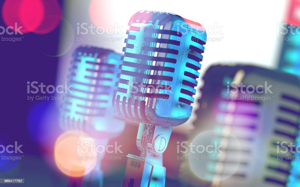 Microphone and stage lights.Concert and music concept.3d illustration'n zbiór zdjęć royalty-free