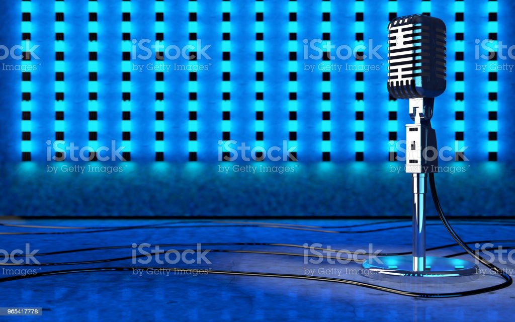 Microphone and stage lights.Concert and music concept.3d illustration'n royalty-free stock photo