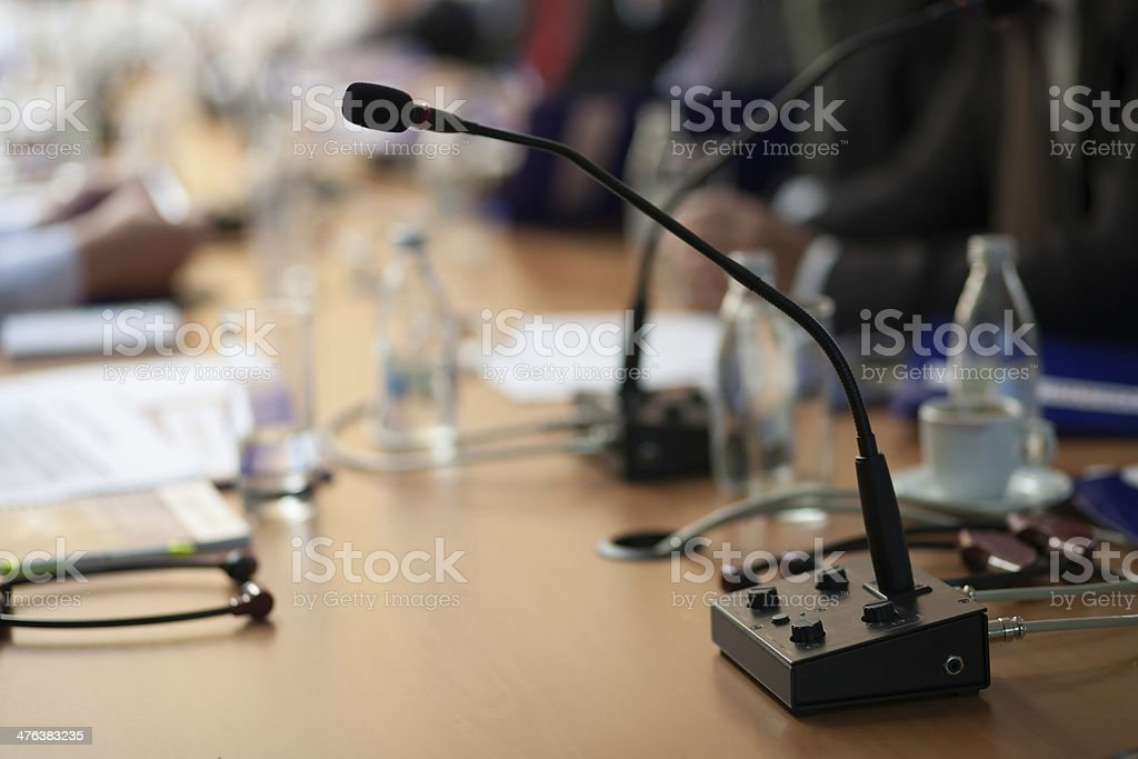 microphone at business meeting royalty-free stock photo