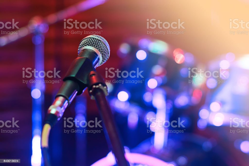 Microphone at concert stock photo