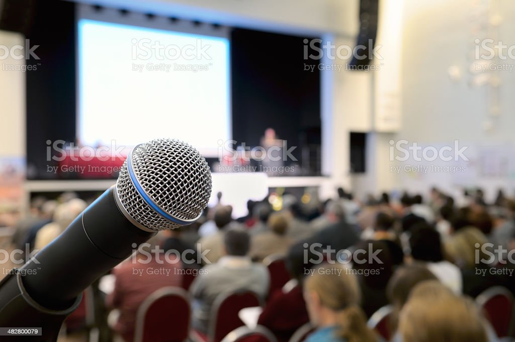Microphone at conference. stock photo